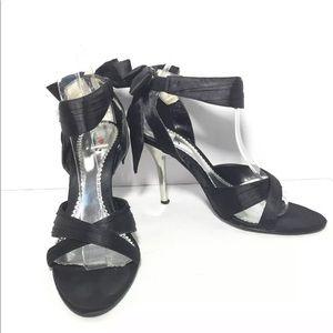 EUC Luichiny Duchess Black Satin Heels